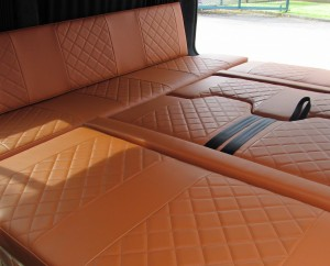 Campervan upholstery with Bentley stitch.  How to sell more Campervans IMG 0435 2 300x242