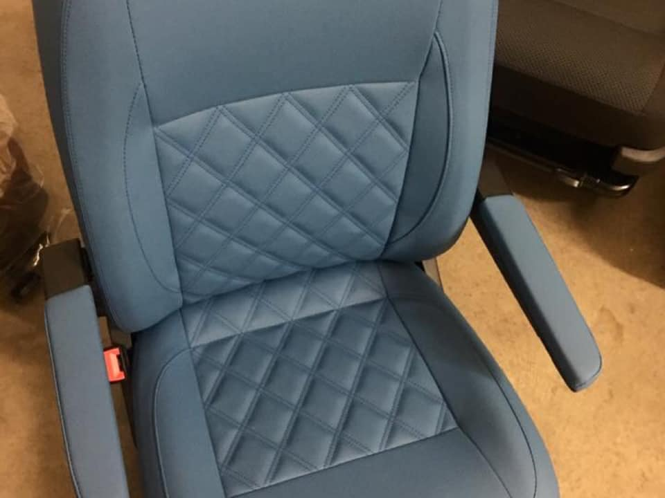 campervan upholstery CAMPERVAN GALLERY blue grey seat