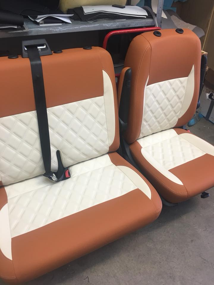campervan upholstery CAMPERVAN GALLERY brown and cream seats
