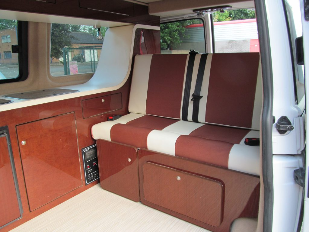 campervan upholstery TRADE rock and roll bed bronze and cream vinyl 1024x768