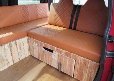 rock and roll bed, brown vinyl, single Bentley stitch camper gallery CAMPER GALLERY rock and roll bed brown vinyl single Bentley stitch 400x284