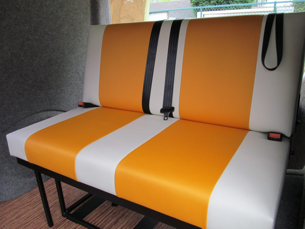 campervan upholstery CAMPERVAN UPHOLSTERY rock and roll bed orange and cream vinyl 1024x768