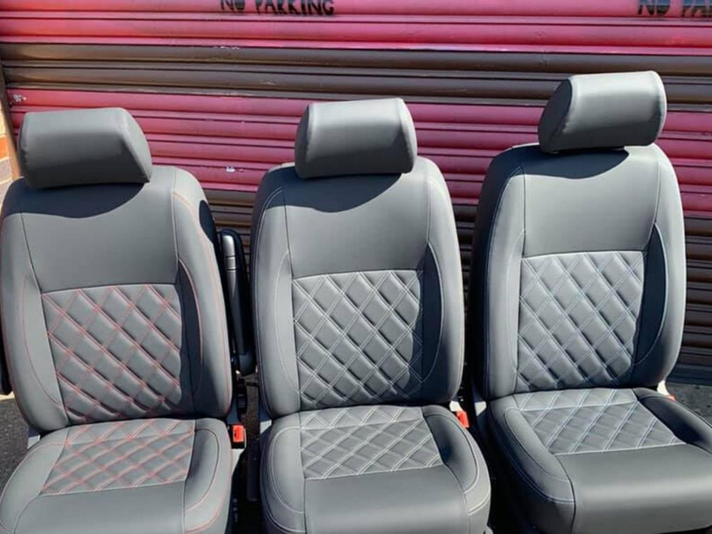 campervan upholstery CAMPERVAN UPHOLSTERY vw campervan single cab seats with Bentley style stitching 1 1024x768
